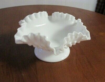 "Fenton White Milk Glass Hobnail Ruffled Edge 8"" Serving Candy Bowl Dish"