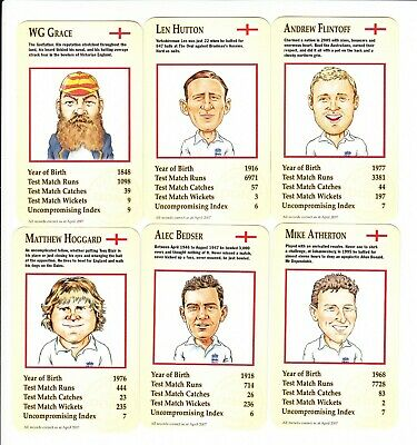 Famous England Cricketers : UK Marstons sports card set