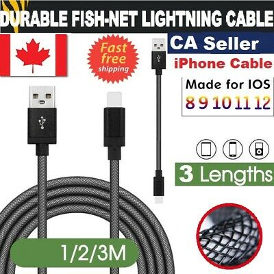 1m, 2m,3m Nylon Braided USB Lightning Fast Charging Data Cable For iPhon & iPad