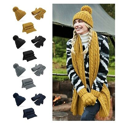Winter Bobble Hat Scarf and Gloves Set Knitted Gift Set Super Soft Cable Knit