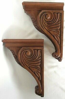 "Pair of Carved Cherry Acanthus Wood Corbels 2-3/4"" x 13"" x 9-1/4"""