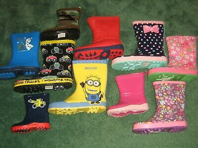 Children's Wellies Wellingtons Frozen Minions Dotty Floral Pink Blue SALE SALE