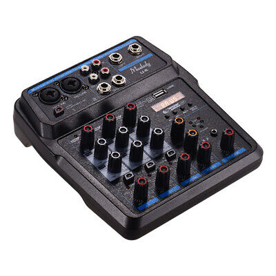 Muslady U4 Portable 4 Channels Audio Mixer BT USB Mixing Console with Sound D3E7