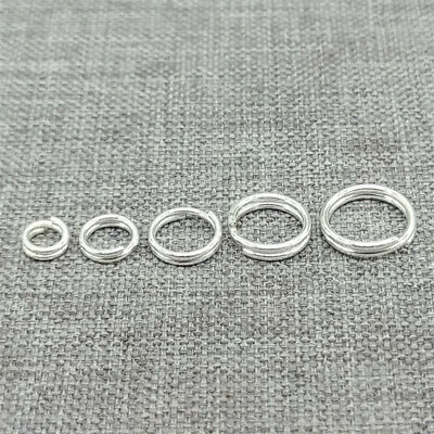10 pack 925 Sterling Silver SPLIT RINGS Key Ring Charm Connector 5mm 6mm 7mm