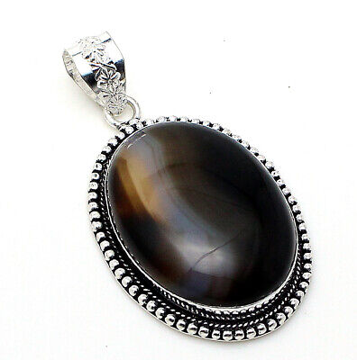 Lovely Deign Natural Botswana Agate Gemstone 925 Silver Jewelry Pendants S 2''