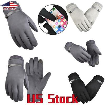 Men Women Skiing Gloves Winter Driving Thermal Touchscreen Suede Sports Warm US