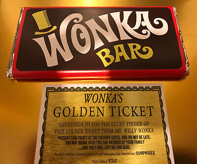 Willy Wonka Chocolate Bar And 1 X Golden Tickets 100g