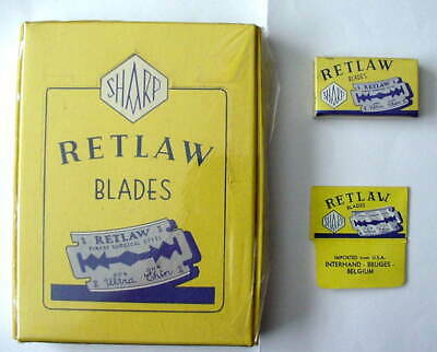 Vintage FULL DISPLAY BOX RETLAW  DE  Safety Razor Blades