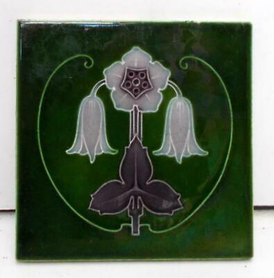 English Art Nouveau Majolica Tile, Stylish Floral Design !