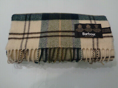 BARBOUR Scarf Green Tartan Check 90% merino 10% cashmere