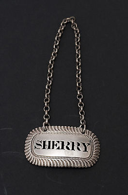 Georgian Solid Sterling Silver Decanter Label 'Sherry' Hallmarked 1817 - Antique