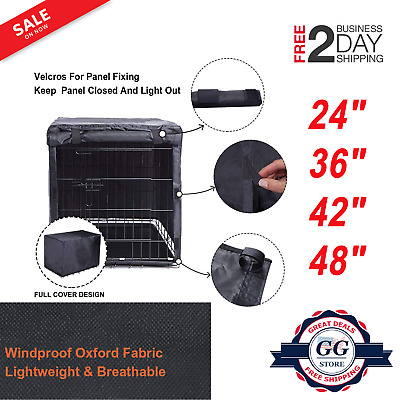 """DOG CRATE COVER Pet Cage Kennel Black Quiet Time Breathable 48""""/42""""/36""""/24"""" NEW"""