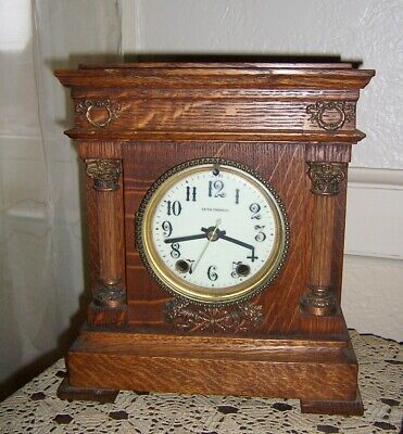Antique Seth Thomas oak Case Shelf Mantle Clock.pretty quartz movement 11 x 9