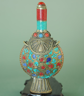 china old hand-made copper inlay Turquoise antique snuff bottle Bb01