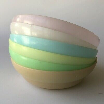 6x Multi Colored Tupperware Cereal Bowls 155