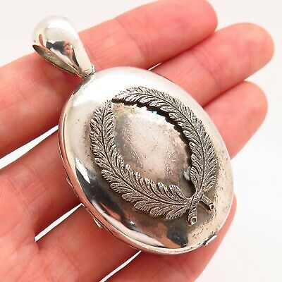 Antique Victorian Sterling Silver Handmade Collectible Oval Photo Locket Pendant