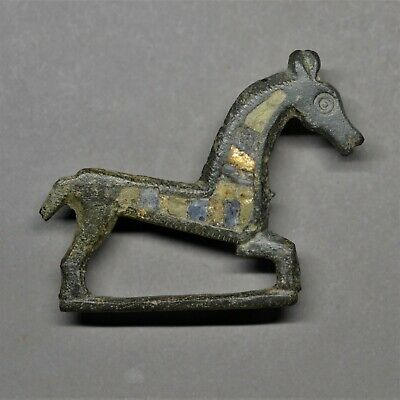Rare Roman Bronze And Enamel Zoomorphic Horse Brooch. Superb Condition.