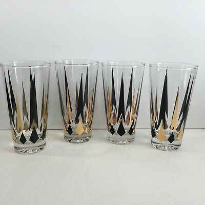 Vintage Mid Century 4 Atomic Glasses Tumblers Barware Black Gold