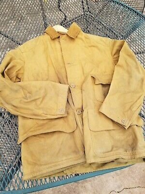 Vintage 1940s Canvas Hunting Jacket Red Head Blue Bill Chore Workwear mens