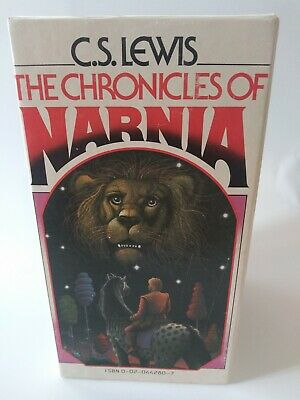 Chronicles of narnia 7 Book Set Paperback C.S Lewis 1970s 1st Edition box