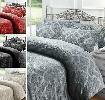 Embossed Damask Teddy Bear Sherpa  Duvet Cover Pillowcase Bedding Set All Size