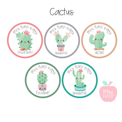 Cute Cactus Personalised Teacher/Birthday/Party Stickers