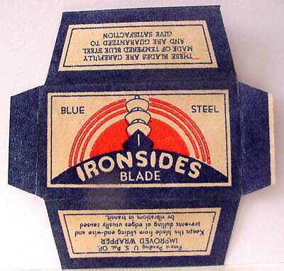 Vintage IRONSIDES  DE  Safety Razor Blade WRAPPER