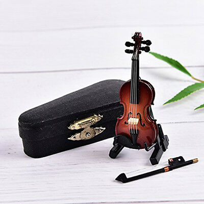 Dollhouse Miniature Wooden Violin with Stand Music Musical Instrument Toy LD