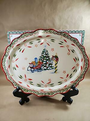 Temp-tations Limited Edition Christmas Holiday Oval Platter w/ Stand