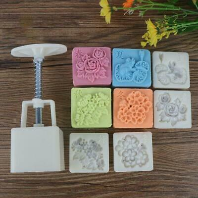 Four Season Flowers Square Hand Pressed Mooncake Mold 4 Stamps Baking Tools