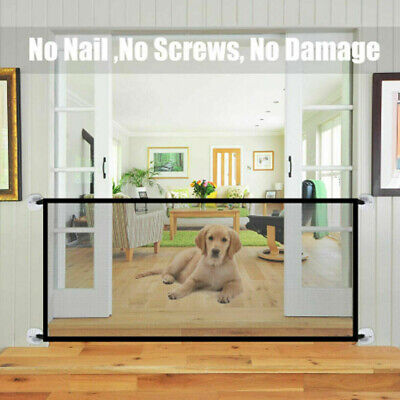 Pet Dog Safety Gate Stair Guard Baby Enclosure Folding Net Mesh Fence AU