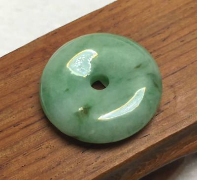 Certified Green 100%Natural A Jade jadeite Pendant Circle Donut Necklace 平安扣 A+A