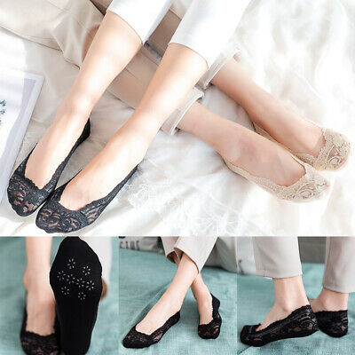 Ladies Lace Footsie Liner Ankle Invisible in Shoes Short Socks Ballerina H-Q