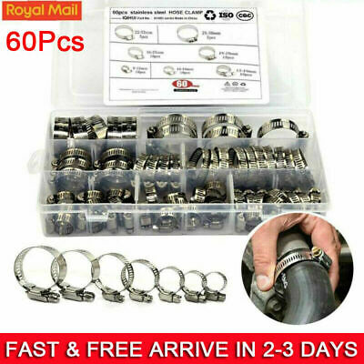 60 Pcs Assorted Stainless Steel Hose Clamp Kit With No Driver Jubilee Clips Set