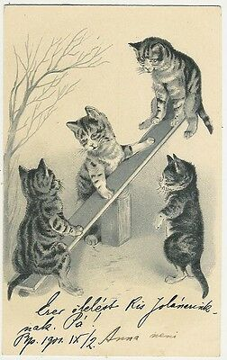 Cats Playing on a Seesaw, Old Embossed Postcard