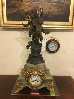 French Clock Strikes on a Bell Attractive Face/Fingers Bronzed Bruchon Sculpture