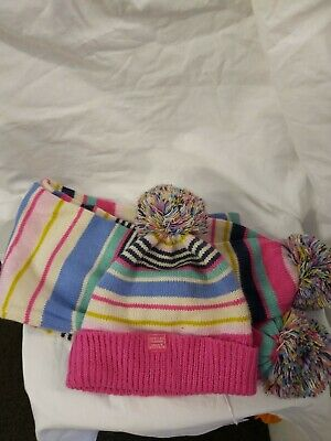 Joules Gorgeous Girls Multicoloured Striped Hat Nd Scarf Set Lovely Condition