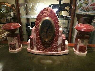 French Art Deco Mantle Clock in Rose Marble c.1930