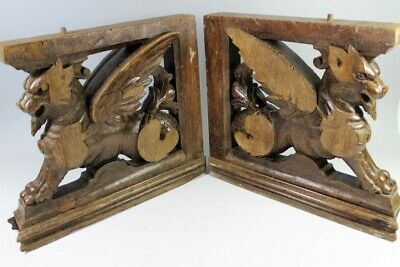 Pair 18th Century Oak Furniture Support Griffin Carvings
