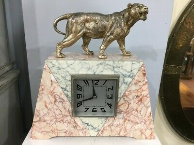 Original French Art Deco Clock with Lioness c1920-30