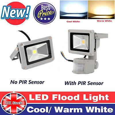 UK With/ Without PIR Sensor LED Floodlight Garden Security Light Cool/Warm White