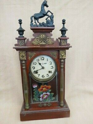 ANTIQUE c1900/1910 JAPANESE STAR STRIKING SHELF CLOCK