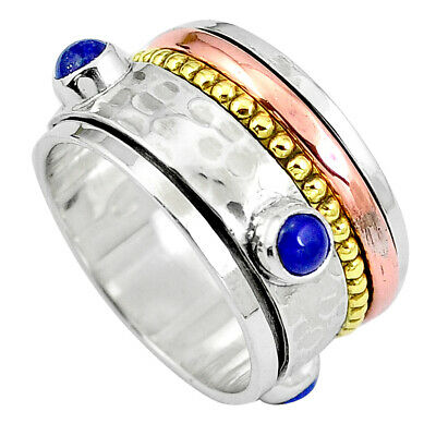 Natural Blue Lapis Lazuli 925 Silver Two Tone Band Ring Jewelry Size 8.5 M71172