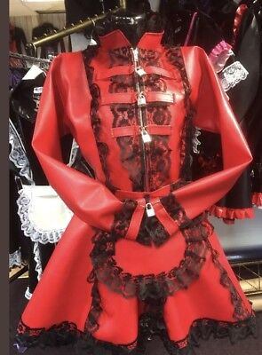Misfitz red leather look padlock lockable French Maids Dress,size 18 TV CD