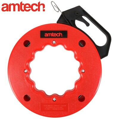50FT FISH TAPE CABLE PULLER Steel Reel Conduit Insulation Cavity Wall Wire Feed