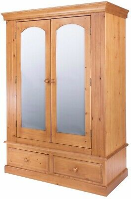 Edwardian 2 Door 2 Drawer Mirrored Wardrobe *FREE HOME DELIVERY* - ANTIQUE PINE