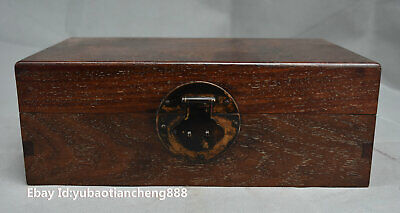 Collect Old Chinese Folk Huanghuali wood Storage jewelry Box Boxes Chest casket