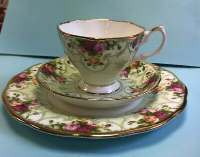 "Royal Albert Rose Cameo Green 3 piece Dessert Set 8"" Salad Plate w/ Cup & Saucer"