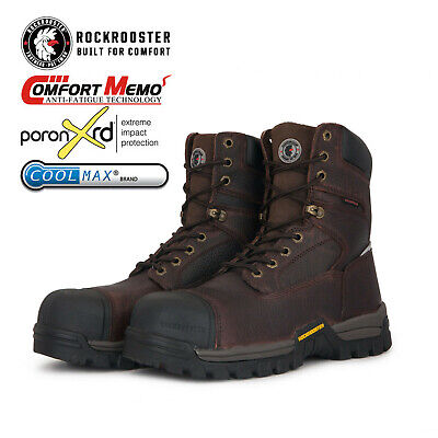 ROCKROOSTER Men's Waterproof Work Boot Composite Toe Lace up Anti-puncture Boots