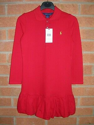 BNWT RALPH LAUREN Girls Designer RED Polo Shirt Dress Age 6 116cm NEW
